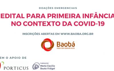 Fundo Baobá lança edital para primeira infância no contexto da pandemia da Covid-19